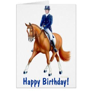 Cartão do cavalo do adestramento do feliz