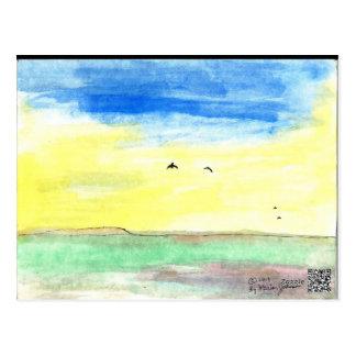 Cartão do céu da manhã, paisagem com pássaros