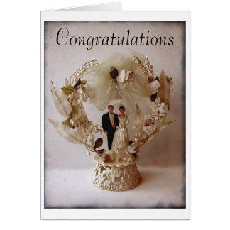 Cartão do chapéu de coco do bolo de casamento