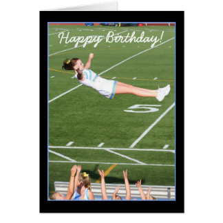 Cartão do cheerleader do feliz aniversario