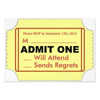 Cartão do cinema RSVP Convites