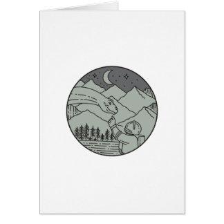Cartão Do círculo tocante do Brontosaurus do astronauta