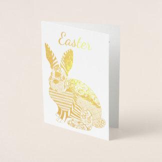 Cartão do coelhinho da Páscoa do ouro