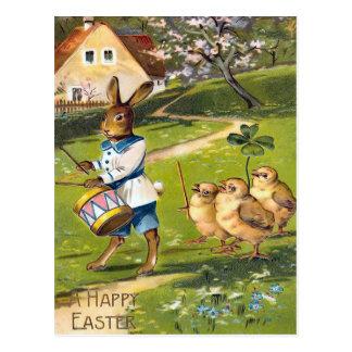 Cartão Postal Cartão do coelhinho da Páscoa do vintage
