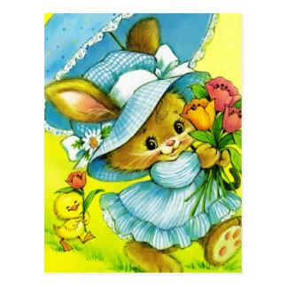 Cartão do coelhinho da Páscoa e do pintinho do vin Cartao Postal
