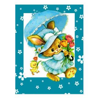 Cartão do coelhinho da Páscoa e do pintinho do vin Cartoes Postais