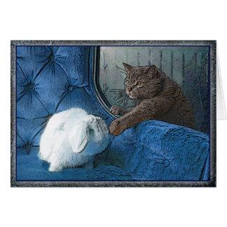 Cartão do coelho e do gatinho