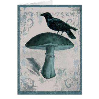 Cartão do cogumelo do corvo da cerceta do vintage