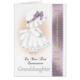 Cartão do comunhão santamente da neta com menina