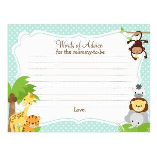 Cartão do conselho do chá de fraldas da selva para