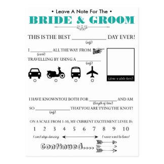 Cartão do conselho do convidado do casamento cartão postal