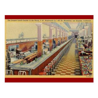 cartão do contador do almoço de Woolworth do
