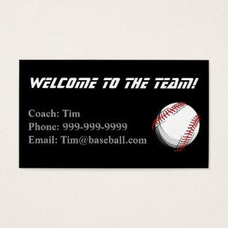 Cartão do contato dos treinadores de basebol