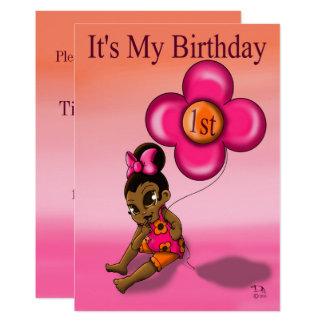 """Cartão Do """"convite"""" 5' do primeiro aniversario bebé x 7"""""""
