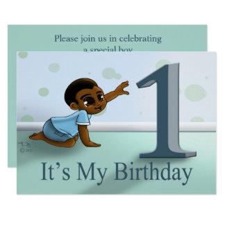 """Cartão Do """"convite"""" 7"""" do primeiro aniversario bebé x 5"""""""