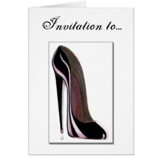 Cartão do convite - calçados pretos do estilete