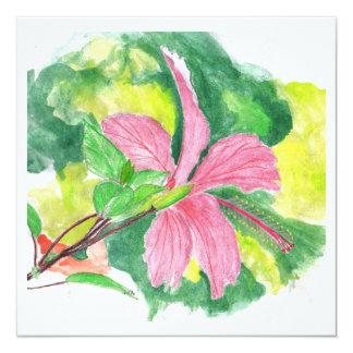 Cartão do convite com pintura da flor do hibiscus