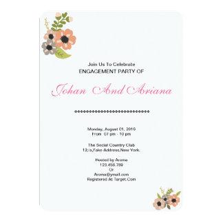 Cartão do convite da festa de noivado do casamento
