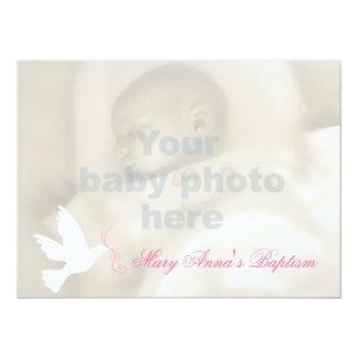 Cartão do convite da pomba e da foto do bebé do convite 13.97 x 19.05cm
