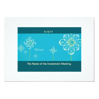 Cartão do convite da reunião do investimento