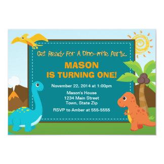 Cartão do convite de aniversário 5x7 do dinossauro
