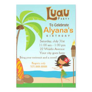 Cartão do convite de aniversário de Luau