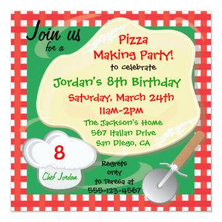 Cartão do convite de aniversário do fazer da pizza