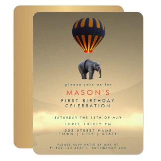 Cartão do convite de festas do balão   do elefante
