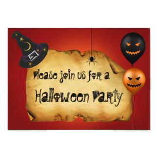 Cartão do convite de festas do Dia das Bruxas