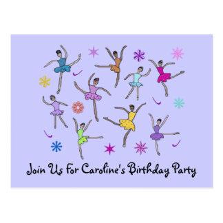 Cartão do convite do aniversário da dança da cartão postal