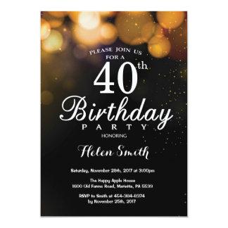 Cartão do convite do aniversário de 40 anos do