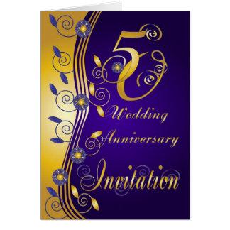 cartão do convite do aniversário de casamento 5oth