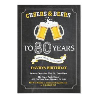 Cartão do convite do aniversário do 80 dos elogios