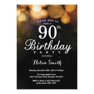 Cartão do convite do aniversário do 90 do brilho