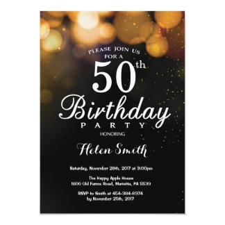Cartão do convite do aniversário do brilho do ouro