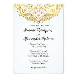 Cartão do convite do casamento da mandala do ouro