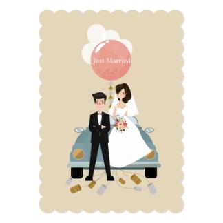 Cartão do convite do casamento do carro do recem