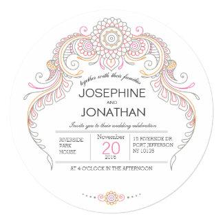 cartão do convite do casamento do design do henna