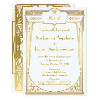 Cartão do convite do casamento, grande Gatsby,