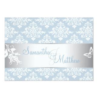 Cartão do convite do casamento tema damasco de