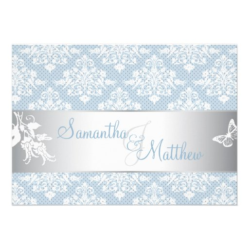 Cartão do convite do casamento tema damasco de Fro