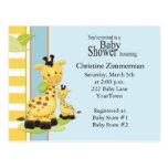 Cartão do convite do chá de fraldas do girafa do b cartao postal