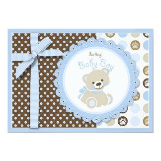 Cartão do convite do chá de fraldas do urso de
