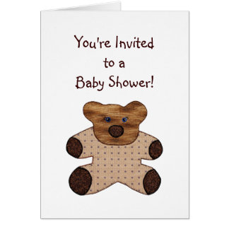 Cartão do convite do chá de fraldas do urso de urs
