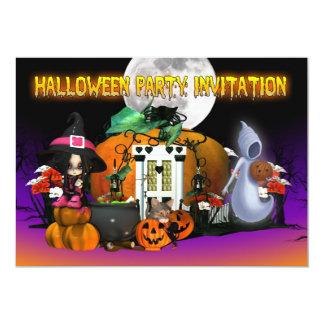 Cartão do convite do Dia das Bruxas - desenhos