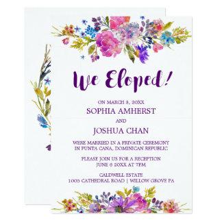 Cartão do convite do Elopement da ameixa