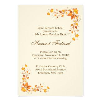 Cartão do convite do festival da colheita convite 12.7 x 17.78cm