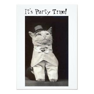 Cartão do convite do gato do partido