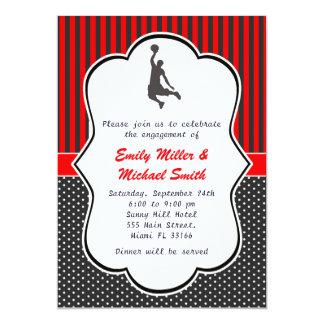 Cartão do convite do noivado do basquetebol