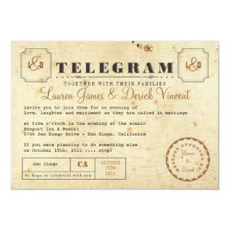 Cartão do convite do telegrama do vintage